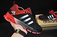Кроссовки черные с красным реплика Adidas Fast Marathon текстиль код 20717, фото 1