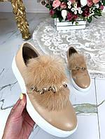 Туфли автоледи бежевые с мехом натуральная кожа код 24497, фото 1
