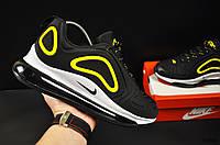 Кроссовки мужские черные с желтым реплика Nike Air Max 720 текстиль код 20691, фото 1