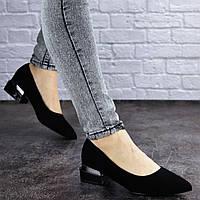 Женские туфли черные замшевые на удобном низком каблуке 4 см 37 размер (24 см) 2019