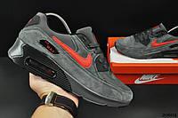 Кроссовки мужские серые в стиле Nike Air Max 90 замшевые 44 размер (стелька 28,2 см) код 20602, фото 1