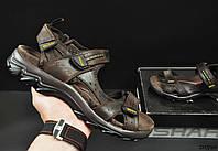 Сандалии мужские темно коричневые в стиле Еcco кожаные код 20590, фото 1