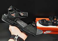 Сандалии подростковые черные в стиле NIKE кожаные код 20586, фото 1