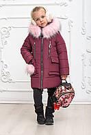 Красивая зимняя куртка на девочку размеры 116-146