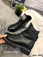 Ботинки зимние черные Змейка на низком ходу натуральная кожа и мех код А1954, фото 1
