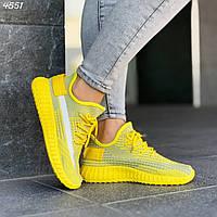 Женские  кроссовки желто-серые текстиль шнуровка код 4551, фото 1