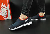 Кроссовки женские темно-синие с красным в стиле NIKE Free 3.0 текстиль код 20542, фото 1