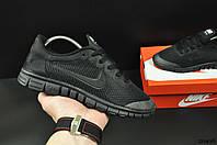 Кроссовки женские черные в стиле NIKE Free Run 3.0 текстиль код 20498, фото 1