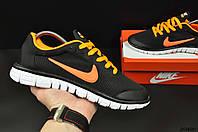 Кроссовки мужские черно-оранжевые в стиле NIKE Free Run 3.0 текстиль код 20490, фото 1