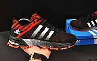 Кроссовки мужские черно-красные в стиле ADIDAS Fast Marathon текстиль код 20482, фото 1