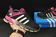 Кроссовки женские черно-розовые ADIDAS Marathon текстиль код 20481, фото 1