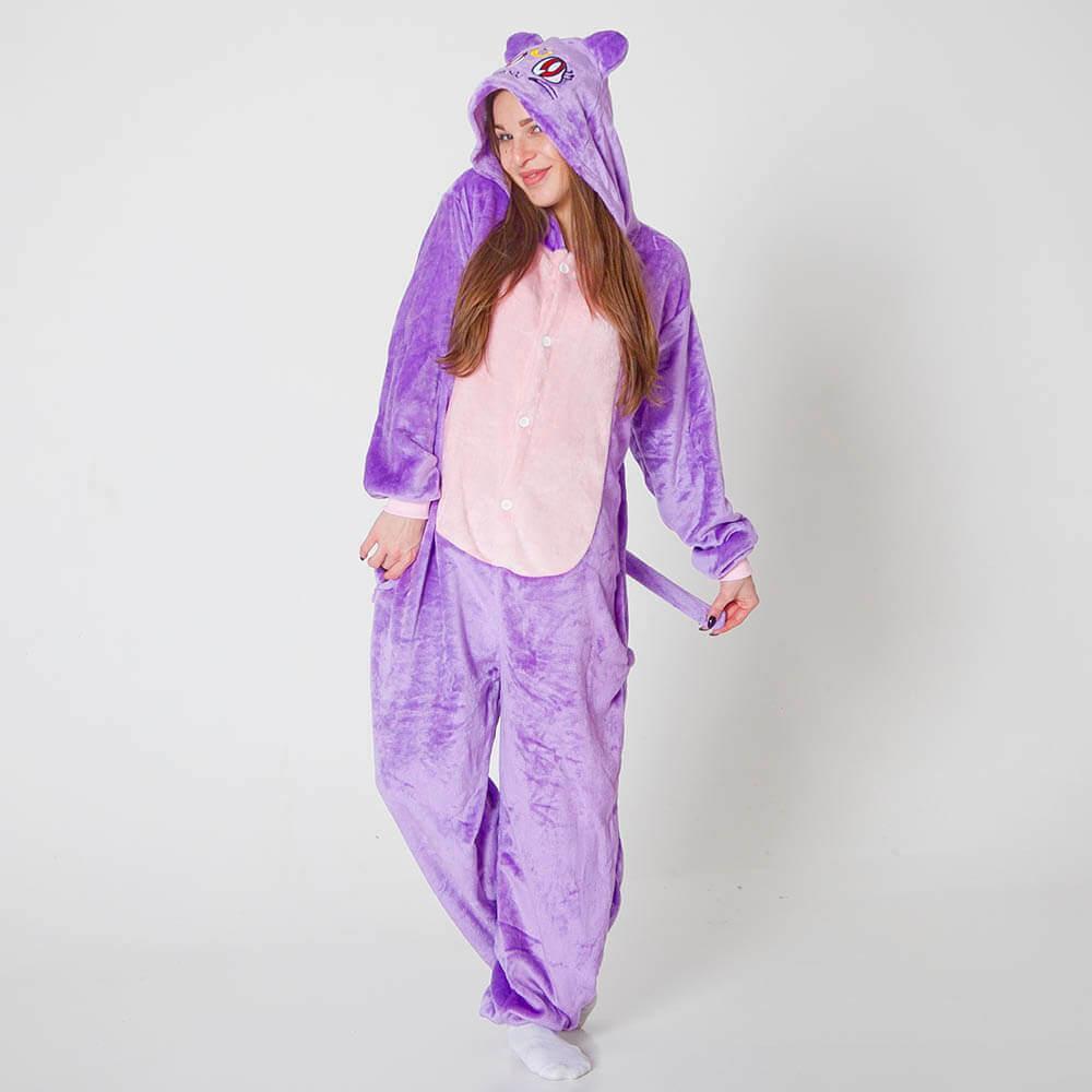 Піжама кигуруми жіноча і чоловіча Кіт фіолетовий