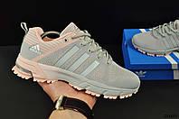 Кроссовки женские серо-розовые ADIDAS Marathon текстиль код 20461, фото 1
