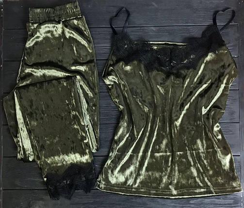 Велюровая пижама с кружевом BR-S майка и штаны хаки 50 р. 1260871440, фото 2