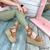 Женские босоножки коричневые высокая плетеная подошва с завязками вокруг ноги код 26928, фото 1