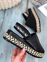 Босоножки черные перфорация по подошве плетенная косичка 37 размер (24 см) код 27276, фото 1