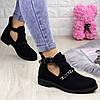 Ботиночки женские черные замшевые открытые по бокам 36 размер - 23,5 см 1261