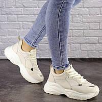 Женские бежевые кроссовки на высокой подошве 38 размер-24 см 1468, фото 1