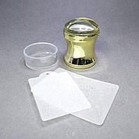 Прозрачный силиконовый штамп с скрапером круглый большой