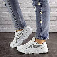 Женские белые кроссовки с серыми вставками Crunch 1613, фото 1