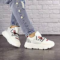 Женские стильные кроссовки белые на высокой подошве 1531, фото 1