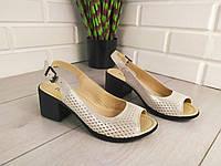 Босоножки женские бежевые сатин на каблуке, сандалии летние, босоножки из натуральной кожи. Украина