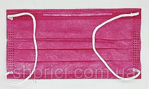 Маска медицинская одноразовая 3-х слойная нестерильная на резинках розовая/ Сангиг