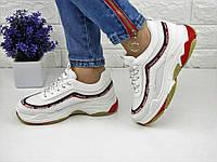 Женские белые кроссовки 37 размер (стелька 23 см) 1072, фото 1