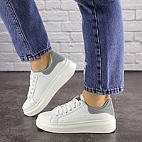 Женские белые кроссовки с серой пяткой 1654, фото 1