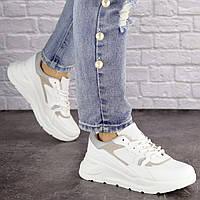 Женские белые кроссовки удобные демисезонные 1518, фото 1