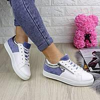 Женские белые с синим кроссовки комбинированные 39 размер ( стелька 24 см ) 1202, фото 1
