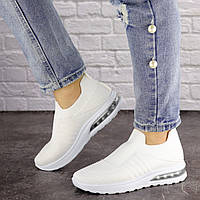 Женские белые кроссовки текстильные без шнуровки 1524, фото 1