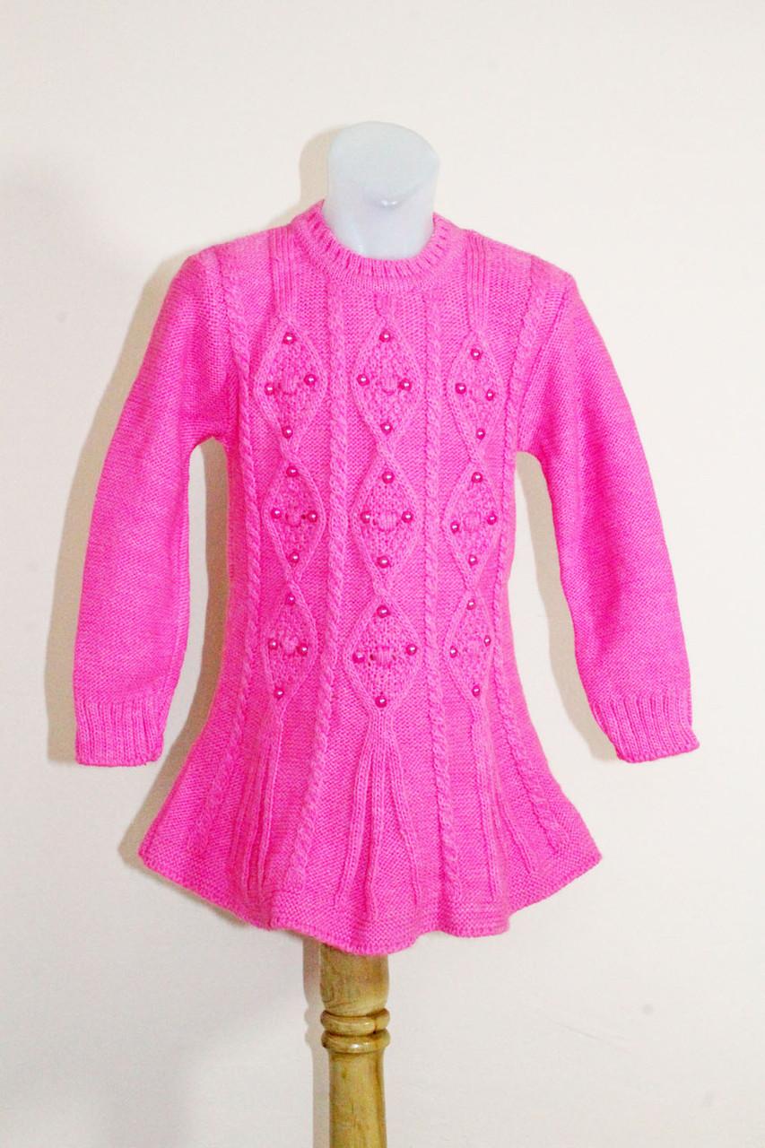 Детский свитер туника на девочку с бусинами розовый