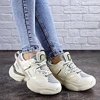 Женские модные бежевые кроссовки на дутой подошве 2048, фото 1
