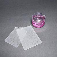 Прозорий силіконовий штамп з скрапером і пластиною з візерунками