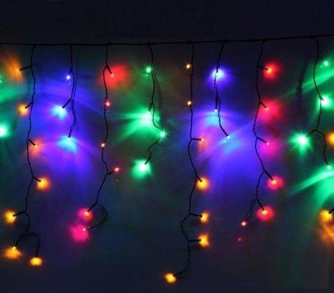 РОЗПРОДАЖ!!! Светодиодна LED гирлянда-бахрома 2,7 м ЦВЕТНАЯ на черном проводе мультиколор