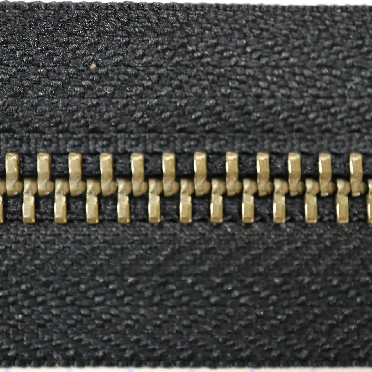 Молния металлическая тип 5 YKK чёрная зуб антик