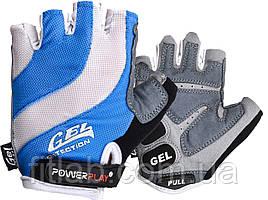 Велоперчатки PowerPlay 5034 Бело-голубые M