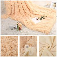 Плед покрывало на кровать меховое Травка Мишка Страус Пушистик размер (евро).подарок на свадьбу, юбилей
