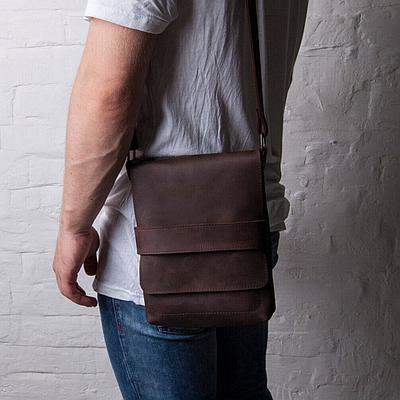 Мужская сумка из натуральной кожи коричневого цвета. Мужская сумка через плече. Чоловіча сумка із шкіри