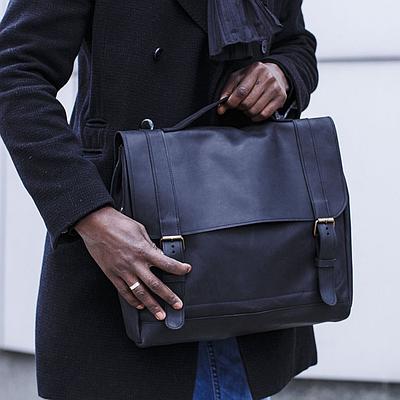 Мужская сумка из натуральной кожи черного цвета. Мужская сумка для ноутбука.Чоловіча сумка із шкіри