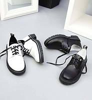 Женские туфли без каблука кожаные черные и белые TOPs3567