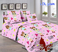 Детский комплект постельного белья розового цвета куколки LOL
