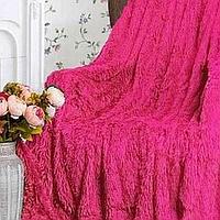 Плед покрывало на кровать меховое Травка Мишка Страус Пушистик 220х240 (евро), в подарок на свадьбу юбилей