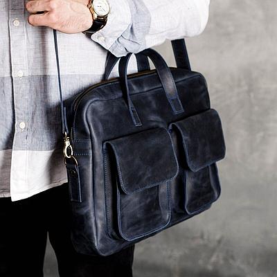 Мужская сумка из натуральной кожи синего цвета. Мужская сумка для ноутбука. Чоловіча сумка із шкіри
