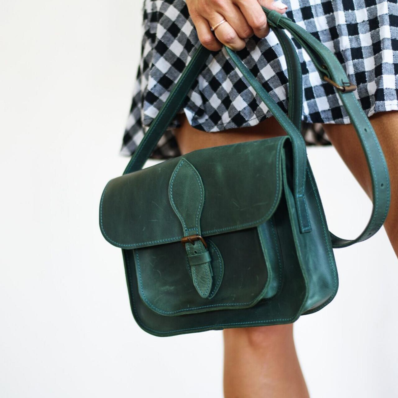 Женская кожаная сумка зеленого цвета. Женская сумка ручной работы. Женская кожаная сумка. Жіноча кожана сумка