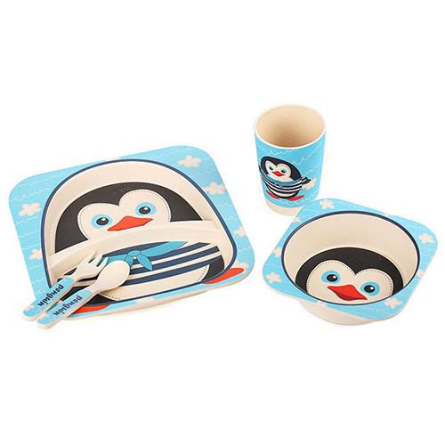 "Посуда детская бамбук ""Пингвин"" 5пр/наб (2тарелки, вилка, ложка, стакан) MH-2770-14"