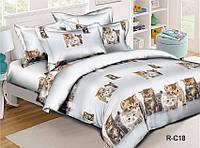 Детский комплект постельного белья белого цвета с котиками