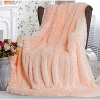Плед покрывало меховое Травка , Пушистик на кровать размер (евро), персиковый.