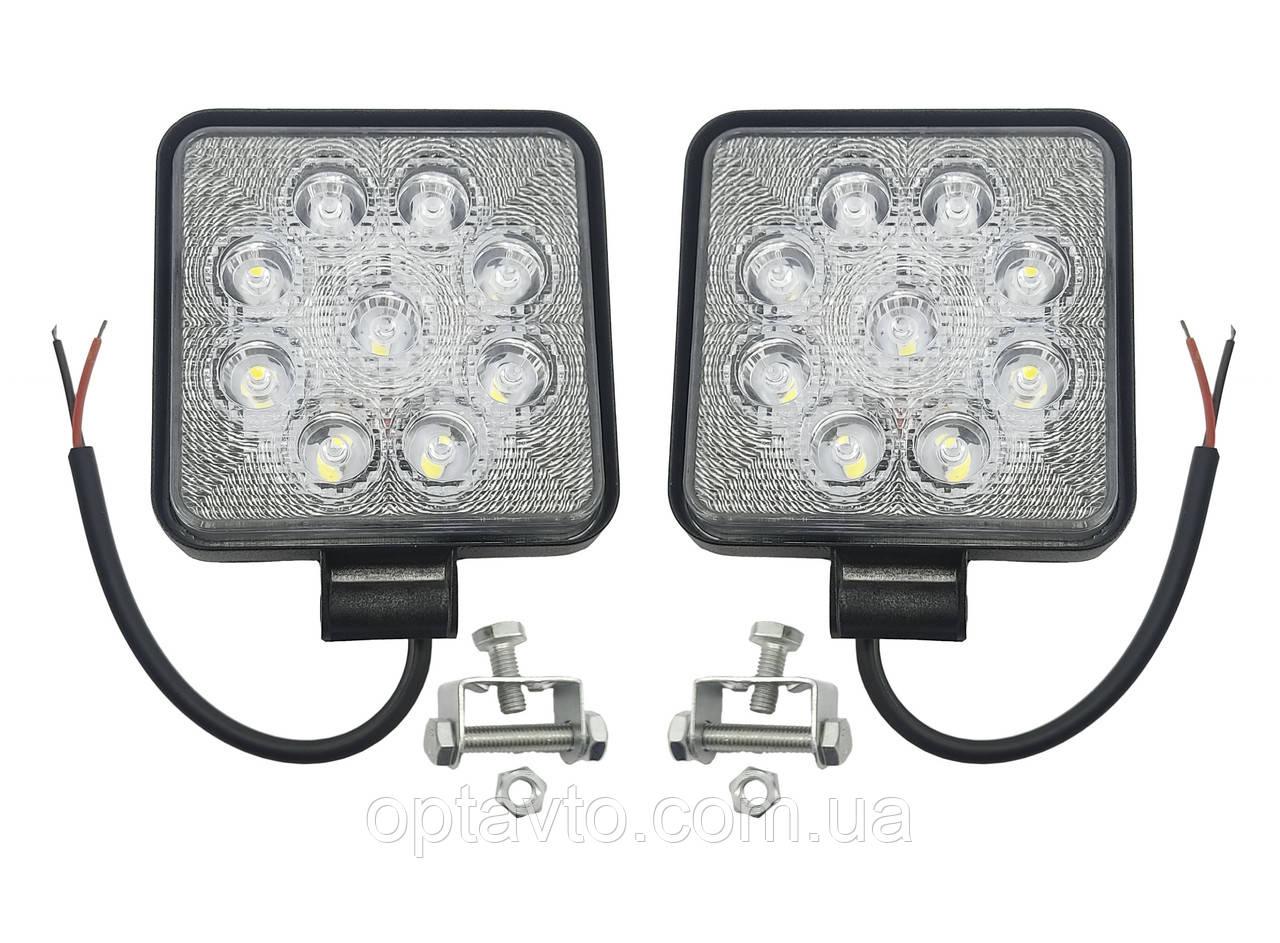 Комплект LED фар квадратных. Светодиодные лэд фары на 9 диодов. Гарантия качества. 27W. Пр-во Корея
